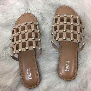 bar iii Pecanna Studded Nude Slides Sandals size 7